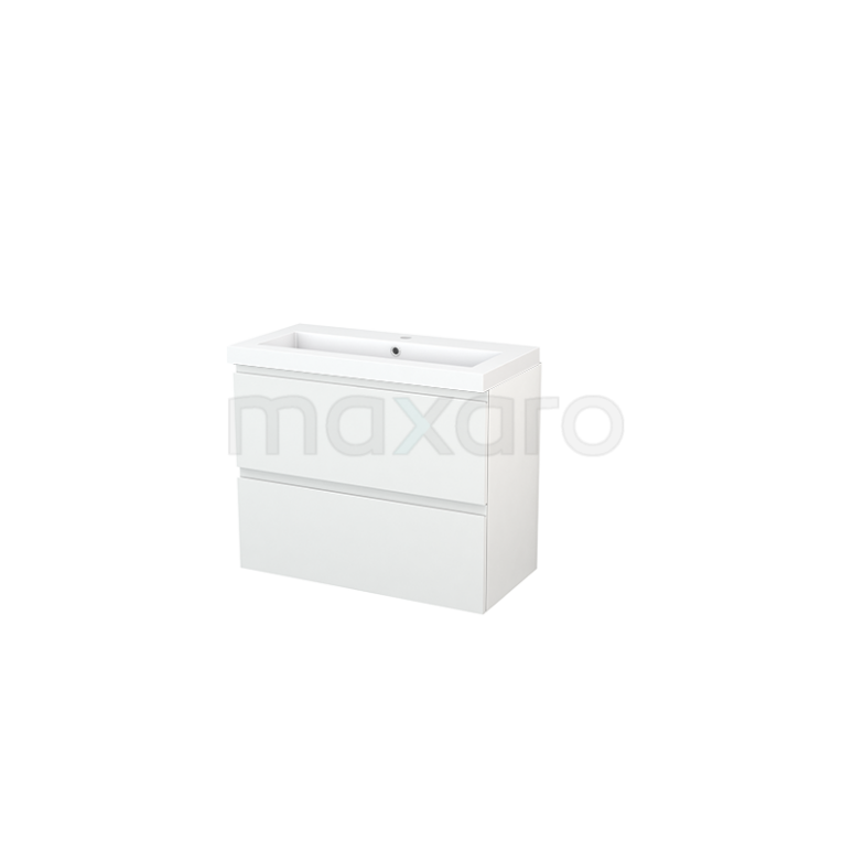 Maxaro Modulo+ Slim BMS000080 Badkamermeubel 80cm Modulo+ Slim Hoogglans Wit 2 Lades Greeploos Mineraalmarmer