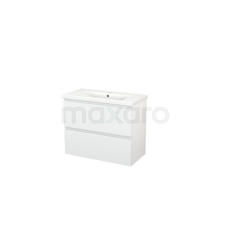 Maxaro Modulo+ Slim BMS000081 Badkamermeubel 80cm Modulo+ Slim Hoogglans Wit 2 Lades Greeploos Keramiek