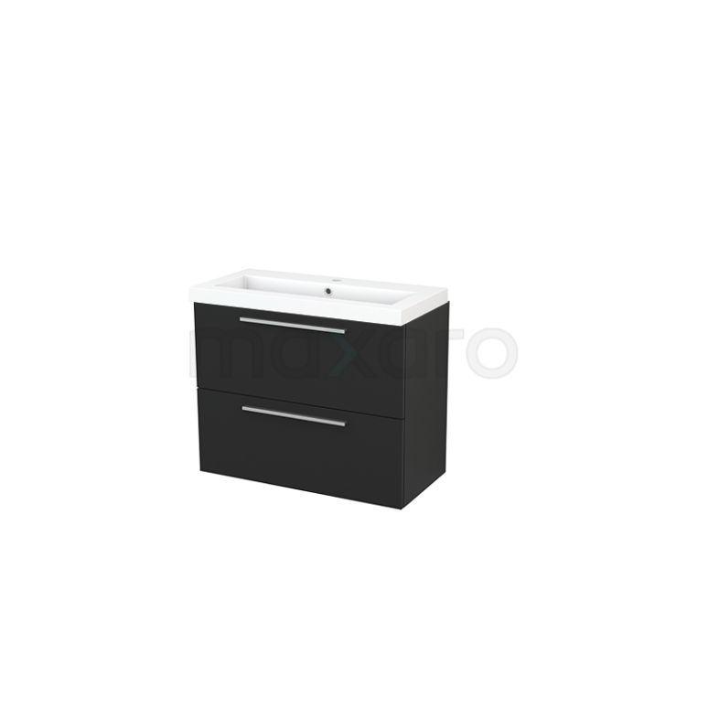 Badkamermeubel 80cm Modulo+ Slim Carbon 2 Lades Vlak Wastafel Mineraalmarmer
