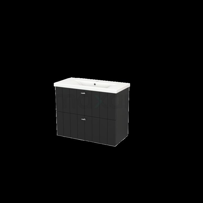 Badkamermeubel 80cm Modulo+ Slim Carbon 2 Lades Lamel Wastafel Keramiek