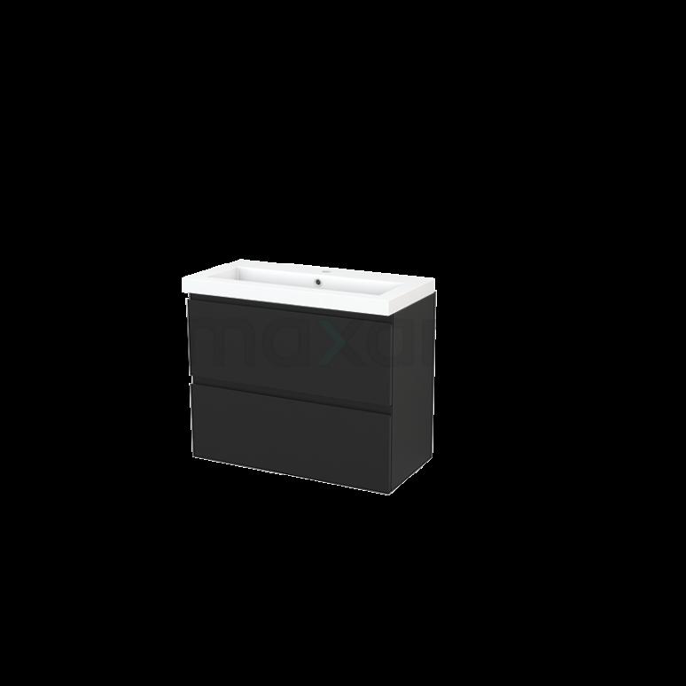 Badkamermeubel 80cm Modulo+ Slim Carbon 2 Lades Greeploos Wastafel Mineraalmarmer