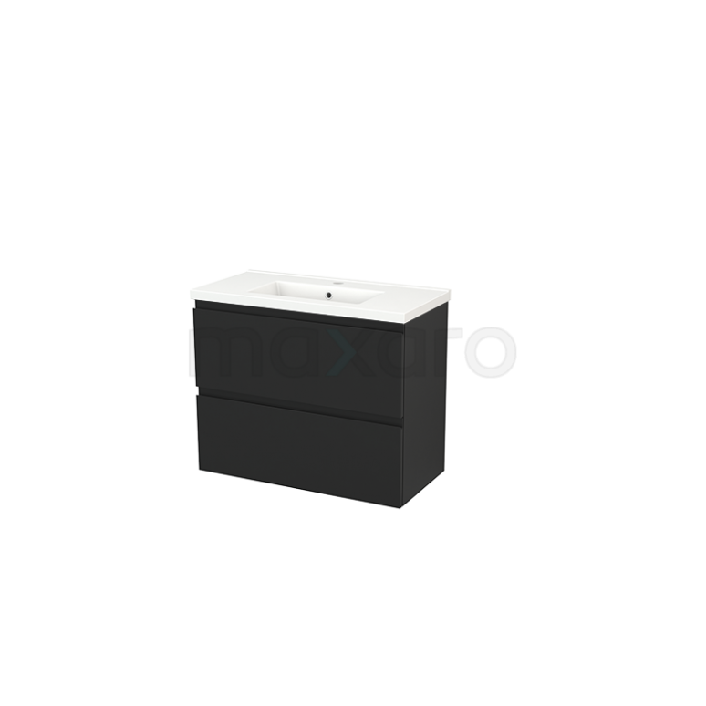 Maxaro Modulo+ Slim BMS000094 Badkamermeubel 80cm Modulo+ Slim Carbon 2 Lades Greeploos Wastafel Keramiek