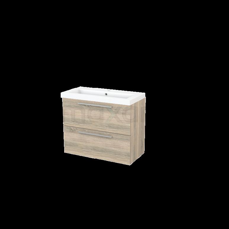Badkamermeubel 80cm Modulo+ Slim Eiken 2 Lades Vlak Wastafel Mineraalmarmer