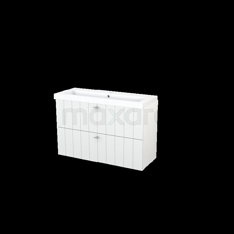 Badkamermeubel 100cm Modulo+ Slim Hoogglans Wit 2 Lades Lamel Wastafel Mineraalmarmer