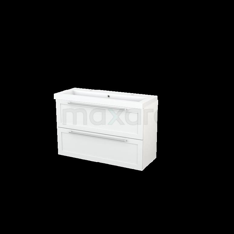 Badkamermeubel 100cm Modulo+ Slim Hoogglans Wit 2 Lades Kader Wastafel Mineraalmarmer