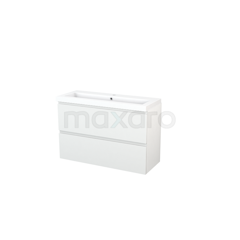 Maxaro Modulo+ Slim BMS000125 Badkamermeubel 100cm Modulo+ Slim Hoogglans Wit 2 Lades Greeploos Wastafel Mineraalmarmer