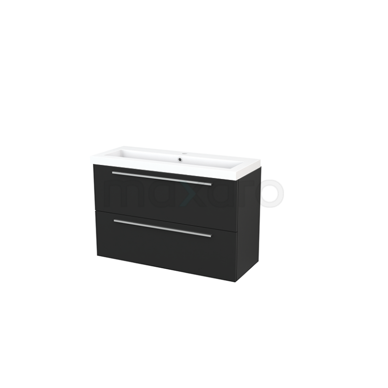 Badkamermeubel 100cm Modulo+ Slim Carbon 2 Lades Vlak Wastafel Mineraalmarmer