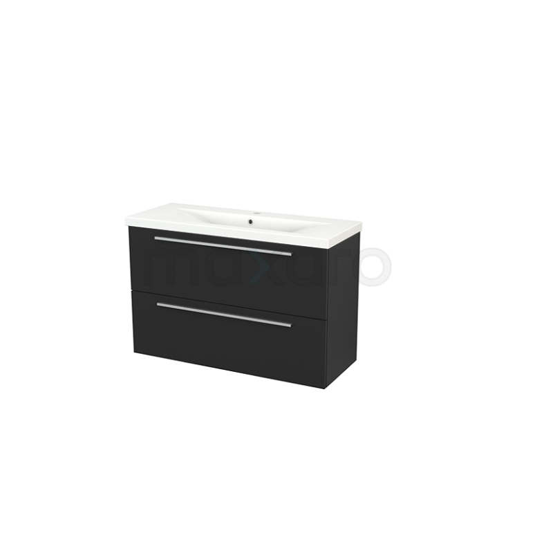 Badkamermeubel 100cm Modulo+ Slim Carbon 2 Lades Vlak Wastafel Keramiek