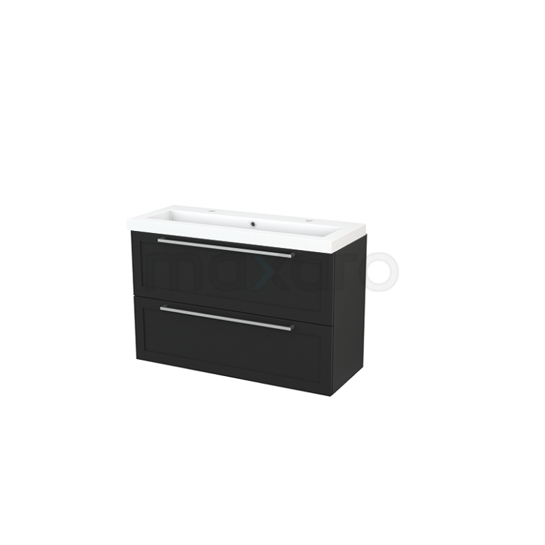 Badkamermeubel 100cm Modulo+ Slim Carbon 2 Lades Kader Wastafel Mineraalmarmer