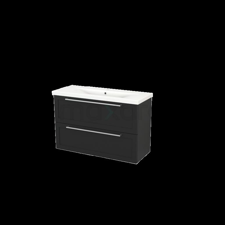 Maxaro Modulo+ Slim BMS000139 Badkamermeubel 100cm Modulo+ Slim Carbon 2 Lades Kader Keramiek