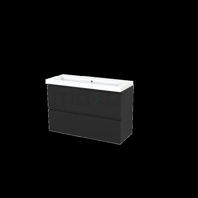 Maxaro Modulo+ Slim BMS000141 Badkamermeubel 100cm Modulo+ Slim Carbon 2 Lades Greeploos Mineraalmarmer