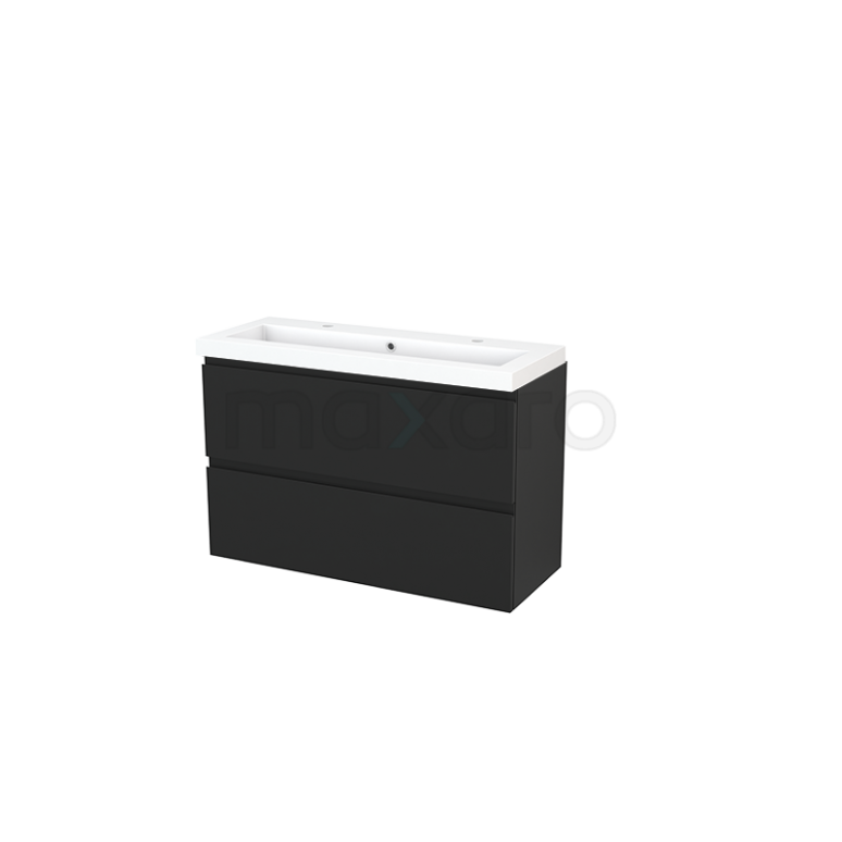 Badkamermeubel 100cm Modulo+ Slim Carbon 2 Lades Greeploos Wastafel Mineraalmarmer
