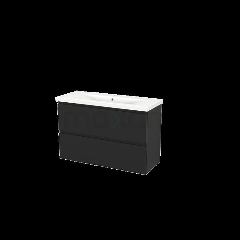 Badkamermeubel 100cm Modulo+ Slim Carbon 2 Lades Greeploos Wastafel Keramiek