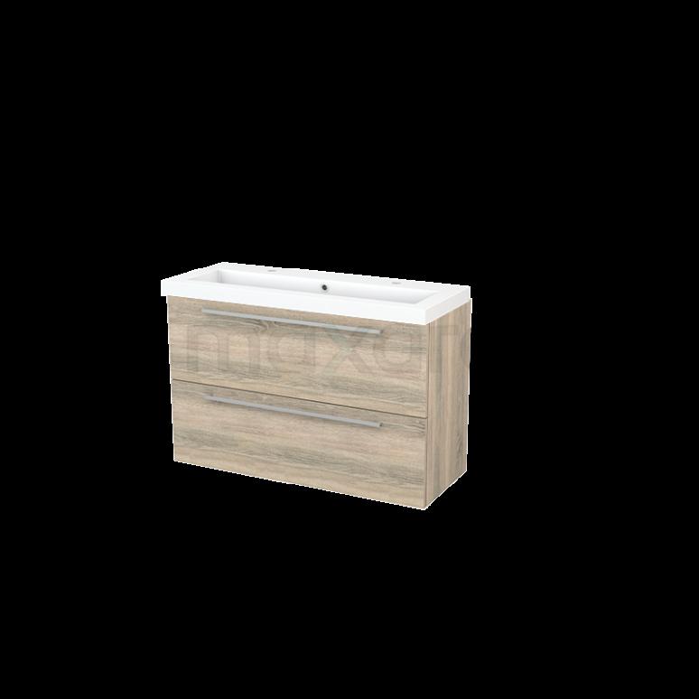 Badkamermeubel 100cm Modulo+ Slim Eiken 2 Lades Vlak Wastafel Mineraalmarmer