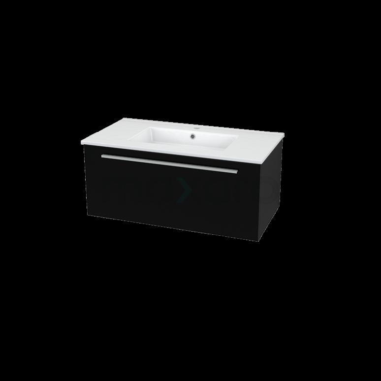 Badkamermeubel 90cm Modulo Zwart 1 Lade Vlak Wastafel Keramiek