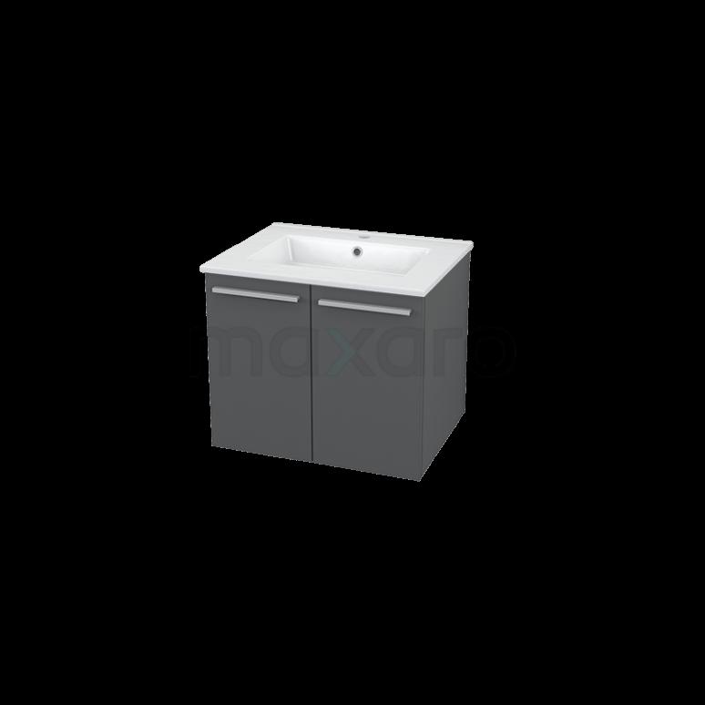 Badkamermeubel 60cm Box Grijs 2 Deuren Vlak Wastafel Keramiek