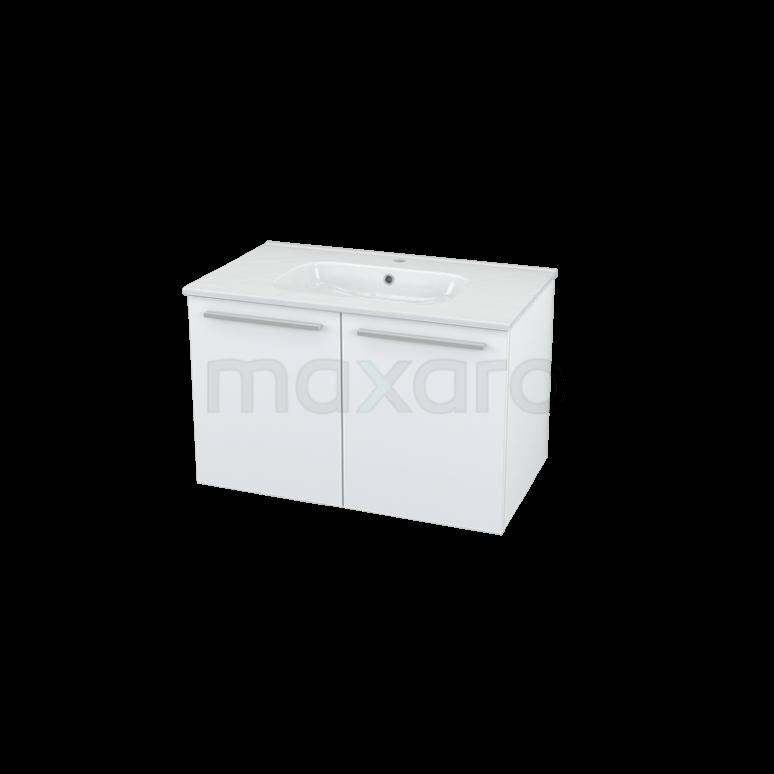 Badkamermeubel 80cm Box Wit 2 Deuren Vlak Wastafel Keramiek