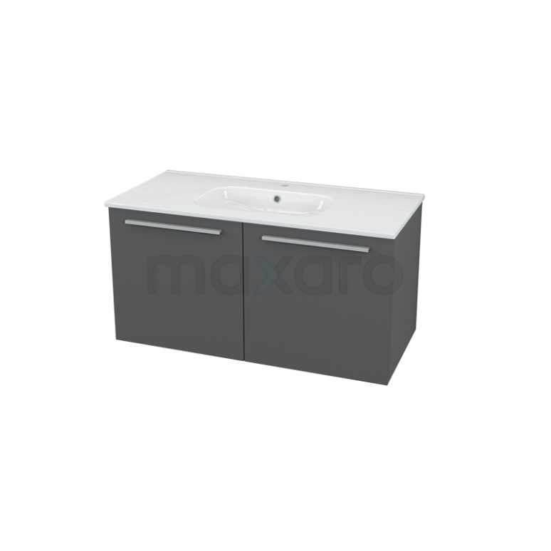 Badkamermeubel 100cm Box Grijs 2 Deuren Vlak Wastafel Keramiek