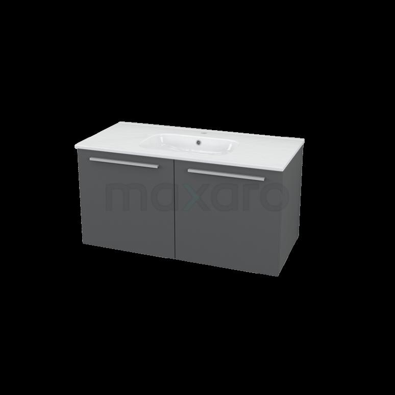 Maxaro Box BMA005512 Badkamermeubel 100cm Box Grijs 2 Deuren Vlak Keramiek