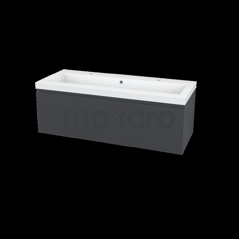 Maxaro Modulo BMA005682 Badkamermeubel 120cm Modulo Antraciet 1 Lade Vlak Mineraalmarmer