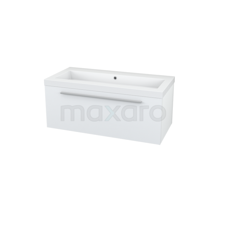 Maxaro Modulo BMA006647 Badkamermeubel 100cm Modulo Hoogglans Wit 1 Lade Vlak Mineraalmarmer