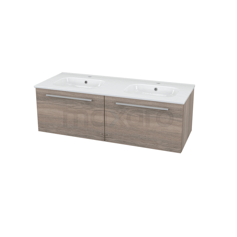 Badkamermeubel 120cm Modulo Eiken 2 Lades Vlak Wastafel Keramiek Showroommodel