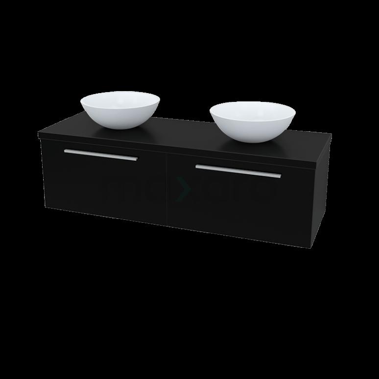 Badkamermeubel voor Waskom 140cm Modulo Plato Zwart 2 Lades Vlak Showroommodel