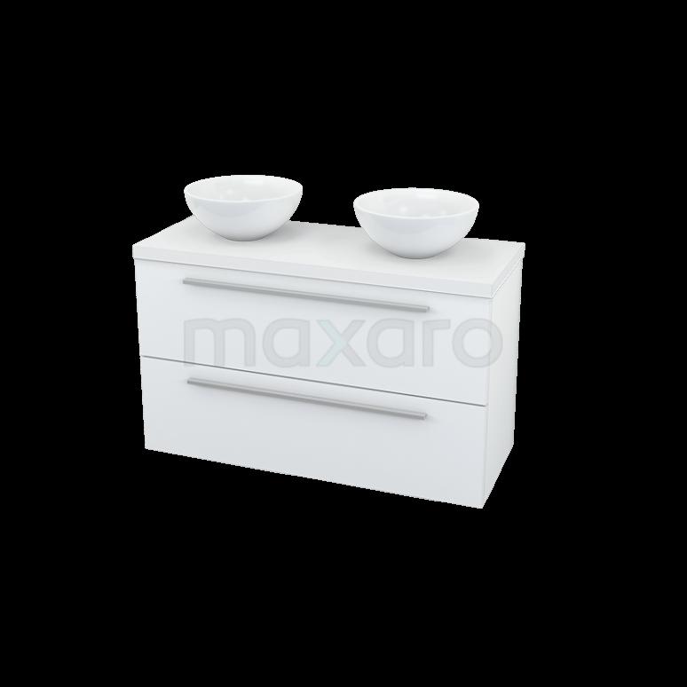 Maxaro Modulo Plato Slim BMI000296 Badkamermeubel voor Waskom 100cm Modulo Plato Slim Hoogglans Wit 2 Lades Vlak