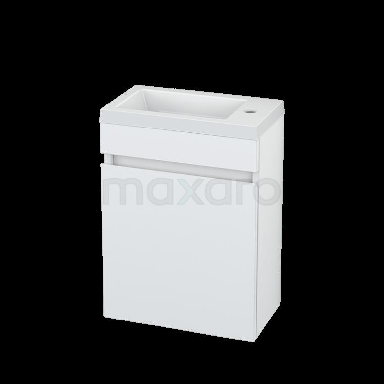 Maxaro Curve BMT000196 Toiletmeubel met Wastafel Mineraalmarmer Curve Hoogglans Wit 40cm