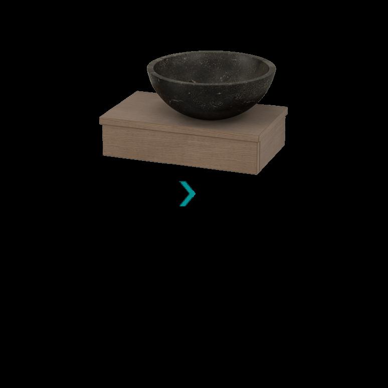 Toiletmeubel met Waskom Natuursteen 40cm Modulo Pico Bruin