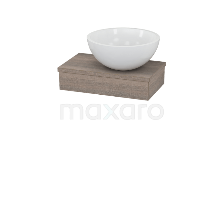 Toiletmeubel met Waskom Mineraalmarmer Glanzend Modulo+ Pico Eiken 40cm