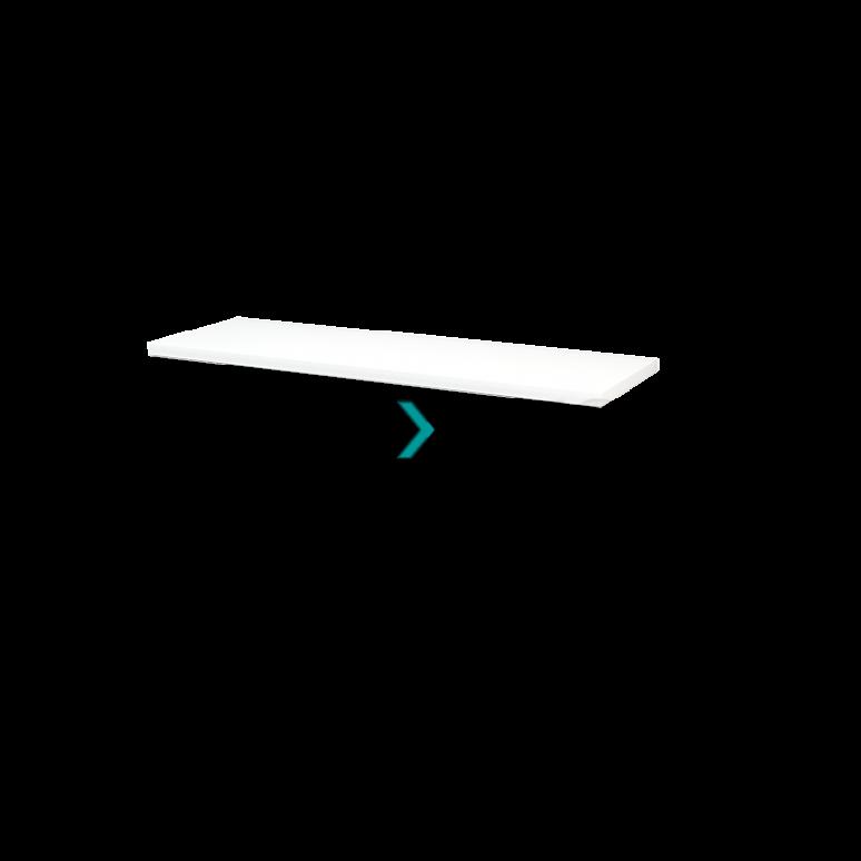 Wastafelblad Modulo+ Plato 140cm Hoogglans Wit