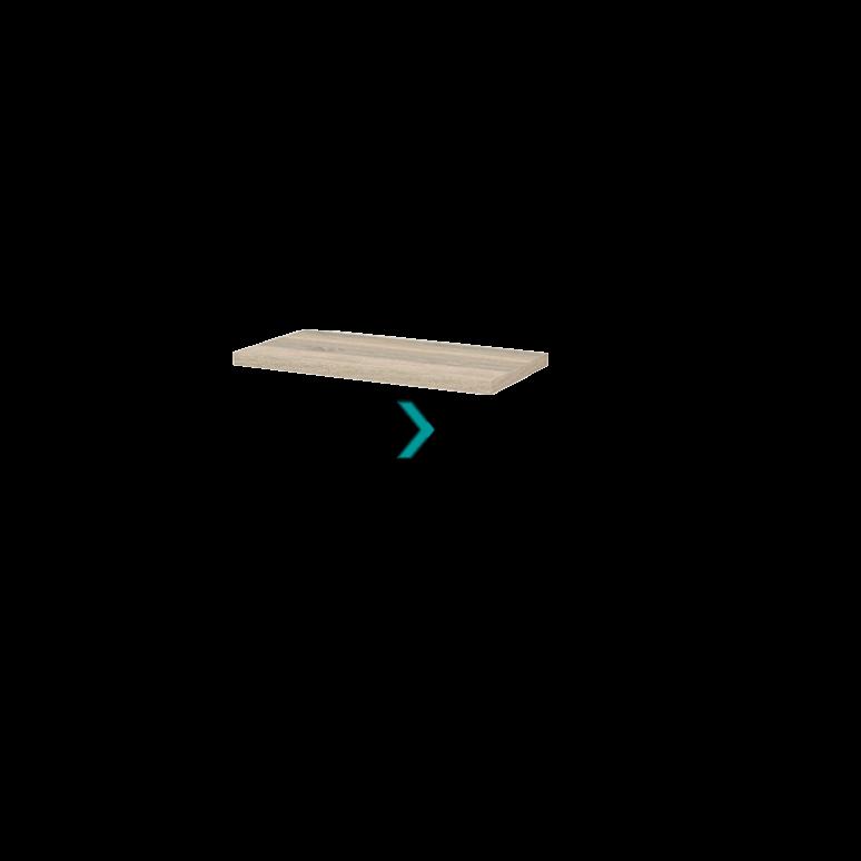 Wastafelblad Modulo+ Plato Slim 80cm Eiken Ondiep