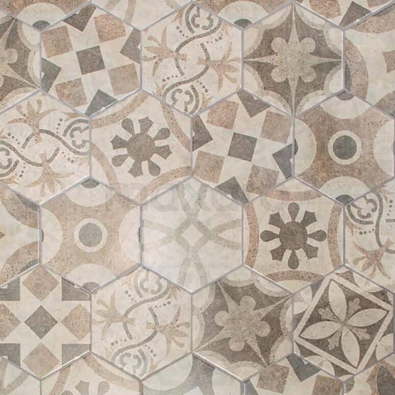 Tegel Tasos 302-010102 Decortegel Tasos 1920 Grey 20x23cm Portugees Multicolor Hexagon